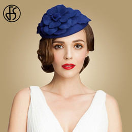 69b89d7c90265 FS Royal Blue Wedding Hats For Women Elegant Wool Fascinator Flower Church  Dress Black Hat Pillbox Derby Ladies Formal Fedora