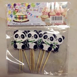 $enCountryForm.capitalKeyWord Australia - 10pcs pack Panda Eating Bamboo theme cupcake toppers Panda theme birthday party decorations Supplies cake flags