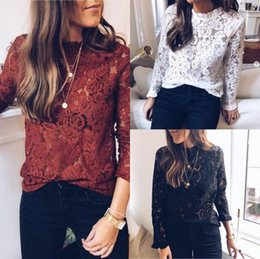 727f27d2be3 Womens Lace T Shirt Fashion Solid Color Womens T Shirts White and Black  Hollow Out Shirts Womens Casual Spring Designer T Shirts