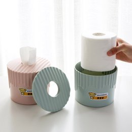 Wholesale Roll Paper Towels Australia - Fashion Car Home Roll Paper Box Holder Plastic Round Tissue Container Towel Napkin Tissue Storage for Home Office Desktop