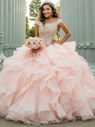 Wholesale Modest Fairy Off the Shoulder Pink Tulle Quinceanera Prom Dress with Beading Ball Gown Ruffles Hot Sale Sleeveless Evening Dress