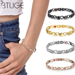 HealtH bangles online shopping - Titanium Steel Magnets Bracelet Bangle Therapy Health Energy Heart Bracelet Magnetic for Women Power Therapy Magnets