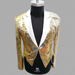 Gold Dance Costume Dresses Australia - sequins blazer men Tuxedo suits designs jacket mens stage costumes for singers clothes dance star style dress gold silver
