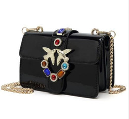 Chains For Mirrors Australia - Swallow Bird Shouder Bag for Women Patent Leather Flap Diamond Embedded Messenger Bag Mirror Surface Crossbody Purse silver