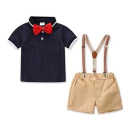 England T Shirts UK - New Fashion Summer boys suits kids designer clothes boys clothing sets bow tie T shirt+ suspender shorts kids sets boy clothes A5541