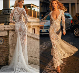 Sexy long dreSS dance online shopping - 2019 Berta Mermaid Long Sleeve Wedding Dresses Modern Lace Floral Sexy V neck Full length Beach Holiday Dancing Bridal Wedding Gown