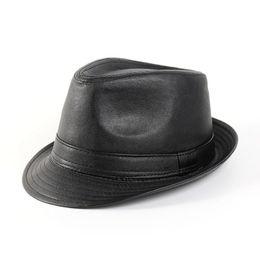 698798109c9e9 PU Leather Fedora Hats Vintage Jazz Cap
