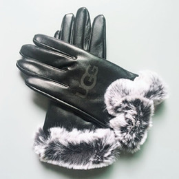 $enCountryForm.capitalKeyWord Australia - Winter Leather Gloves Fashion Women Girll Brand Gloves Winter Cashmere Mittens with Fur Ball Outdoor Sport Warm Finger Glove GGA2550