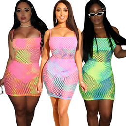 1b8ba0877a9 Club Factory Dresses NZ - dress Europe and America Ms Tie dyeing Large mesh  printing Nightclub