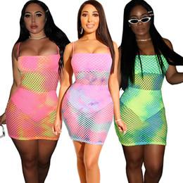 d68c8542c5b Club Factory Dresses NZ - dress Europe and America Ms Tie dyeing Large mesh  printing Nightclub