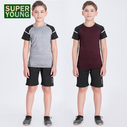295297ac22 Jogging Suits for Men Running Shorts Tights Children Summer Sports Kids Gym  Wear Training Clothing Sets Boys Fitness Sportswear