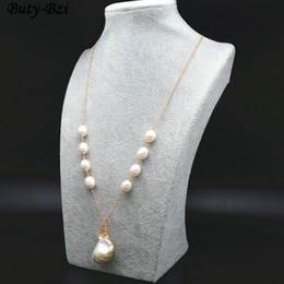 $enCountryForm.capitalKeyWord Australia - High Quality Natural Fresh Water Pearl Wire Wrapped Baroque Bead Pendant Linked Chains Necklace Fashion Waman Party Jewelry J190711