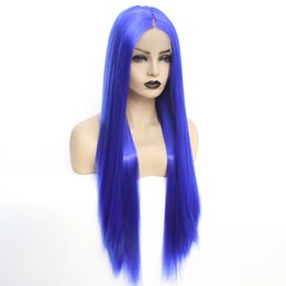 halloween lace wig NZ - New Halloween Realistic Looking Long Straight Blue Color Cosplay Wig Gluelesss Heat Resistant Fiber Synthetic Lace Front Wig for Black Women
