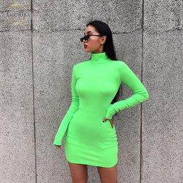 Ladies fuLL cap online shopping - Autumn Dress Turtle Neck Women Color Elastic Skinny Solid Fluorescence Turtleneck Full Sleeve Thumb Holes Ladies Casual Dresses