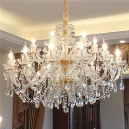 bedroom chandeliers candles UK - European Crystal Chandelier Lighting Luxury Living Room Crystal Hanging Light Bedroom Household Lamp Stair Dining Room Candle Pendant Lamps