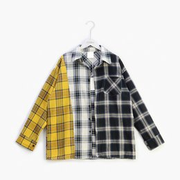Discount bts clothes 2019 designer Mens Shirts BTS New Style Color Matching Plaid Shirt Spring and Autumn Mens Clothing Free Shipping wholesa