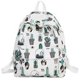 College wind baCkpaCks online shopping - College Wind Cute Cactus Backpack Small Fresh Student Backpack Fashion Cartoon Print