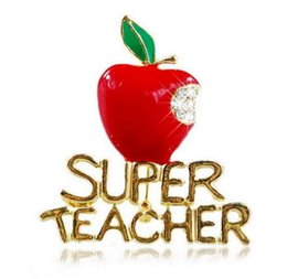 Wholesale Plates For Sale Australia - 2019 New fashion Hot sale Brand Gold Plated Super Teacher Brooch Pins Crystal Red Apple Brooches For Teacher's Day Gifts 6pcs lot