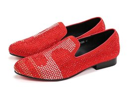 crystal rhinestones flat shoes NZ - 2019 Genuine Leather Casual Men Shoes Red Suede Loafers Crystal Slipper Dress Shoes Men Rhinestone Pointed Toe Party Flats Sapatos size38-46
