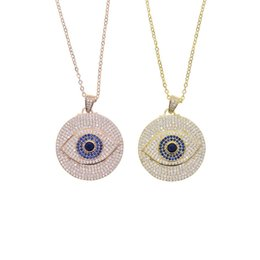 turkish gold coins Canada - Gold filled round disk disco charm round coin plate engraved cz turkish evil eye fashion Boho Bohemia lucky women necklaces