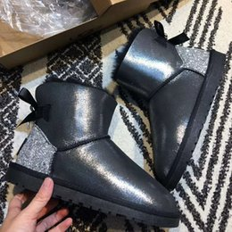 Flat Back Pearls Australia - Winter Fur Back Bowknots Pearls Round Toe Ankle Boots Women Booties 2018 Brand Designer Crystal Butterfly-knot Slip on Flat Shoes Snow Boots