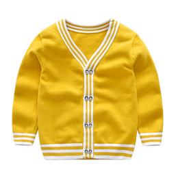 V Neck Pullover Jacket Australia - 2019 European American Spring summer Baby boy Cardigan Knitted Striped v-neck Boys Sweater Children jacket clothes Kids Coat