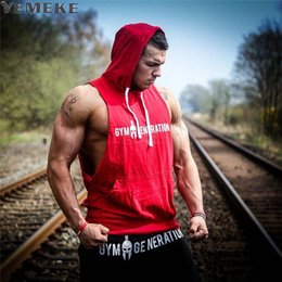 Mens Black Red Tank Top Australia - YEMEKE print Tank Tops Hoodie Fitness Mens Bodybuilding Workout Tee Fashion Muscle Male Activewear Red black army green #779718