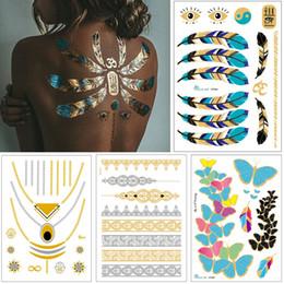 $enCountryForm.capitalKeyWord Australia - Flash Jewelry Tattoo Gold Silver Necklace Bracelet Body Art Design Feather Heart Henna Flower Arrow Decal Woman DIY Temporary Tattoo Sticker