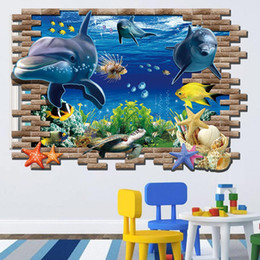 Wall Stickers For Bedrooms Australia - New Sea Whale Fish 3D Wall Stickers Decals for Kids Room Living Room Bedroom TV Wallpaper Removable Mural Art Home Decoration