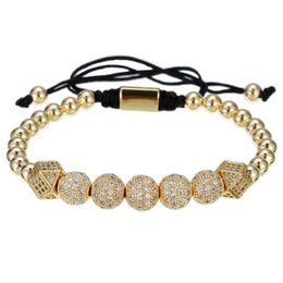 diamond party strands UK - Cubic Zirconia bracelet men luxury Fashionable retro bronze bead Braided Bracelet with 2 diamonds and 5 White Diamond balls