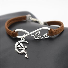 dark star leather NZ - 2019 New Korean Fashion Infinity Love Moon Star Fairy Angel Pendant Charm Bracelets For Women Men Dark Brown Leather Suede Rope Cuff Jewelry