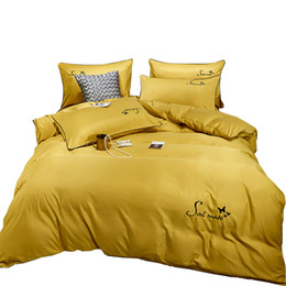 yellow king sized duvet covers NZ - Luxury Solid Color Pink Yellow Silk Duvet Cover Sets PillowCase Bed Sheets Blue Bedding Set King Queen Size Embroidery BedSet Quilt Cover