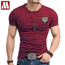 wolves tshirt Australia - 2019 Brand Men's Wolf Embroidery Tshirt Cotton Short Sleeve T Shirt Spring Summer Casual Men's O Neck Slim T-Shirts Size S-5XL