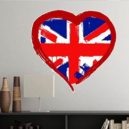 city wall stickers NZ - Love Heart UK England Landmark Flag Mark Illustration Pattern Removable Wall Sticker City Buildings Art Decals Wallpaper for Room Decal