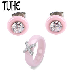 $enCountryForm.capitalKeyWord Australia - wholesale Cute Pink Ceramic Stud Earrings With 6MM Wide Steel X Crystal Rings For Women Girl Romantic Wedding Jewelry Set Best Gifts