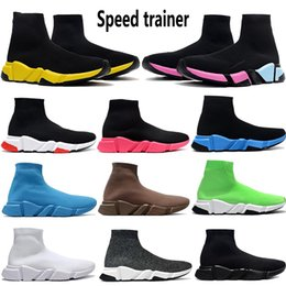 olive shoes NZ - New Black Neon 2020 Paris Speed Trainer mens stylits shoes Triple White Black oreo Blue volt camo olive sneakers womens Casual trainers