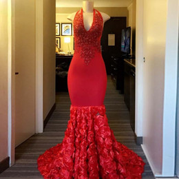 $enCountryForm.capitalKeyWord Australia - Long Red Mermaid Prom Dresses 2019 Halter Sleeveless Beaded Lace African Black Girl Flowers Party Prom Gowns Elastic Satin Cocktail Dress