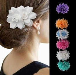 $enCountryForm.capitalKeyWord NZ - Tatyking White Double Rose Flower Side Clip Dance Performance Hair Accessories Bride Wedding Water Drill Flower Hair Clip PH0162