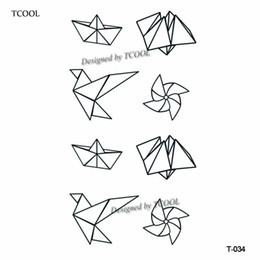 92aad28df Temporary Tattoo Paper Eyes UK - TCOOL Paper Crane Women Temporary Tattoo  Sticker Waterproof Fashion Fake