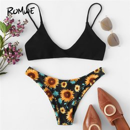 $enCountryForm.capitalKeyWord Australia - Romwe Sport Black Thin Strap Plunge Neck Top Floral Print High Cut Bikini Set Women Summer Beach Wire Free Chest Paded Swimsuits SH190706