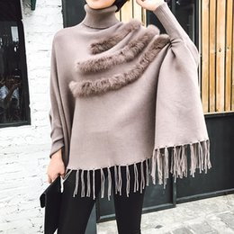 Wholesale 2019 Autumn Winter Tassels Cloak Knitting Coat Clothing New Woman Korean Temperament Turtleneck Fashion Sweater Z090