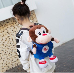 good girl baby toys UK - Good NEW Cartoon cute monkey doll Plush Backpacks Toys for kids New baby canvas bag doll plush schoolbag kids bags GIFT