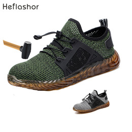 wide work shoes NZ - Heflashor Indestructible Ryder Shoes Men And Women Steel Toe Air Safety Boots Puncture-proof Work Sneakers Breathable Shoes MX190819