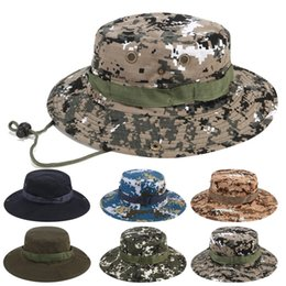 tactical camouflage hats Australia - 18styles Military Boonie Hat Camouflage Wide Brim Hats Cowboy Sun Hat Fishing Army Bucket Cap Outdoor Tactical Caps GGA3176-3