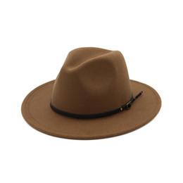 Women s Wool Felt Ladies British Retro Top Hat Outback Panama Wide Brim  Women Belt Buckle Fedora Hats 2019 New Fashion C1 317f00e9d735