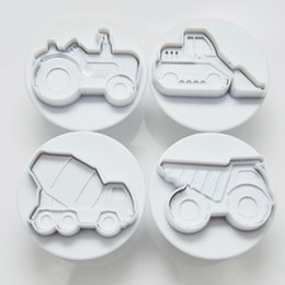 fondant car cake UK - Cake Mold 4 transport car excavator bulldozer digger vehicle truck wagon cookie cutter fondant tool plastic press plunger