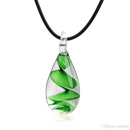 $enCountryForm.capitalKeyWord Australia - Murano Pendant Necklaces Waterdrop Glass Inspired Baroque Art Lampwork Pendant Necklace Rope Chain Jewelry for Women Girl