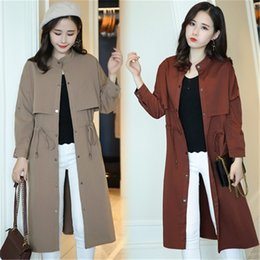 black lady trench coats Australia - Large size women's windbreaker coat Ladies spring coat New Long sleeve slim women's trench coats Fashionable female clothing 945