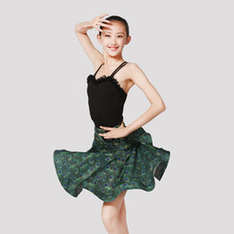 China Latin Dance Costume Girls Slim Tango Cha Cha Samba Rumba Practice Dance Wear Ballroom Black Dancing Tops Peacock Skirt DC1877 cheap samba skirts suppliers