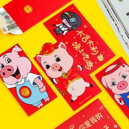 Chinese New Year Gift Pack Australia - 6 Pcs pack Cartoon Animal Pig Piglet Printed Paper Red Envelopes To Fill In Money Chinese Tradition Hongbao New Year Gift